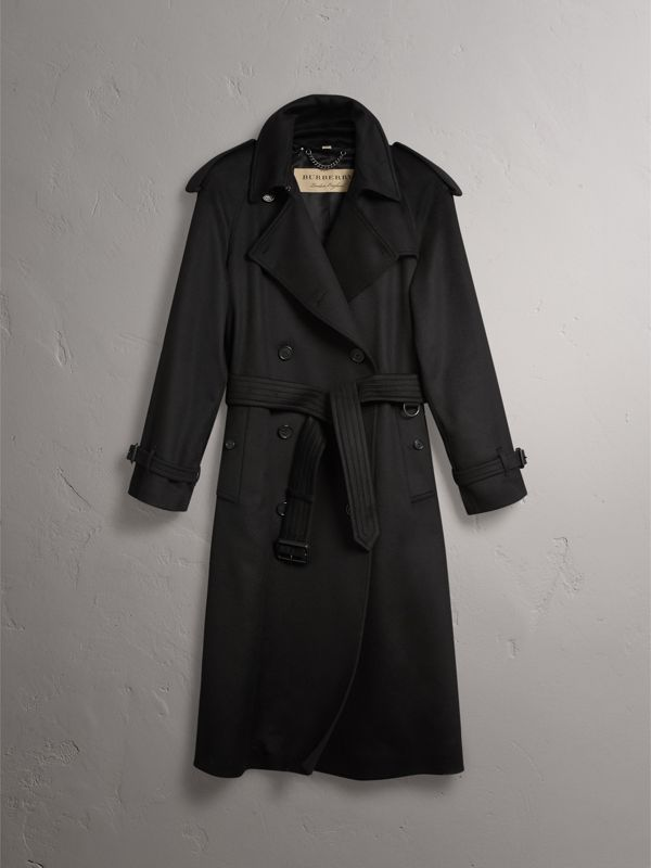 Cashmere Trench Coat in Black - Women | Burberry - cell image 3