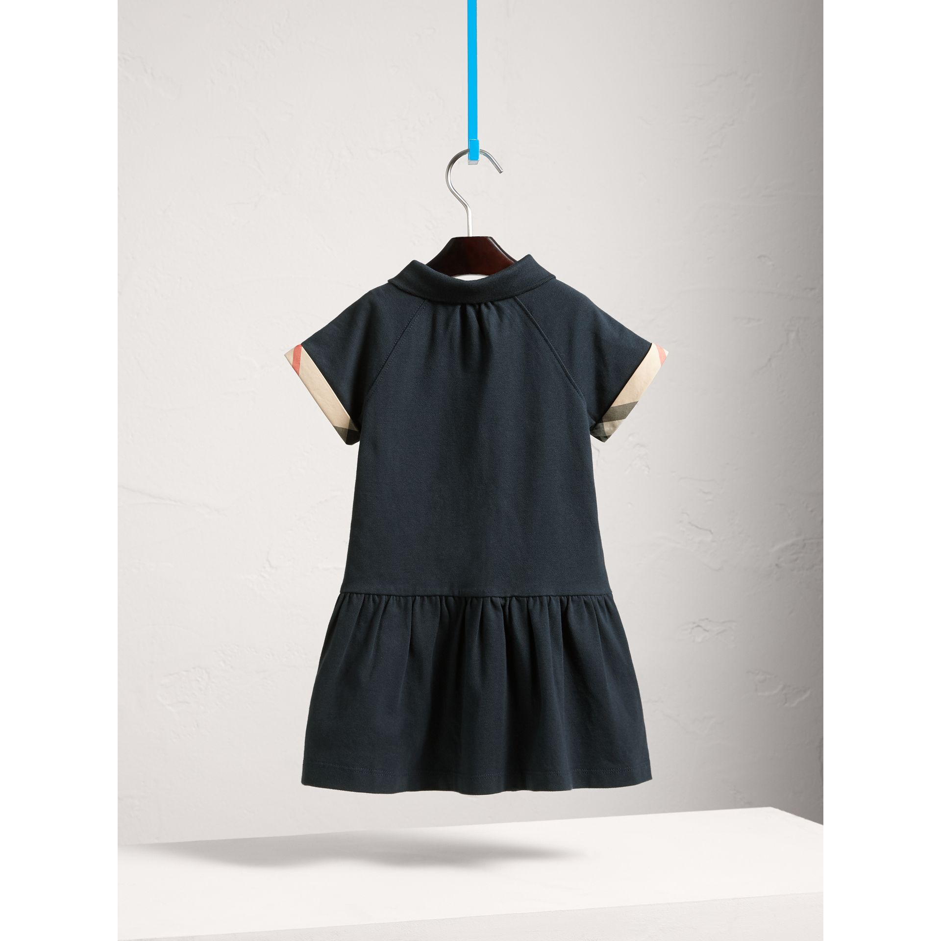 Dropped-waist Stretch Cotton Piqué Dress in Navy - Girl | Burberry - gallery image 4