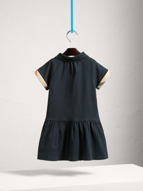 Dropped-waist Stretch Cotton Piqué Dress in Navy - Girl | Burberry - cell image 3