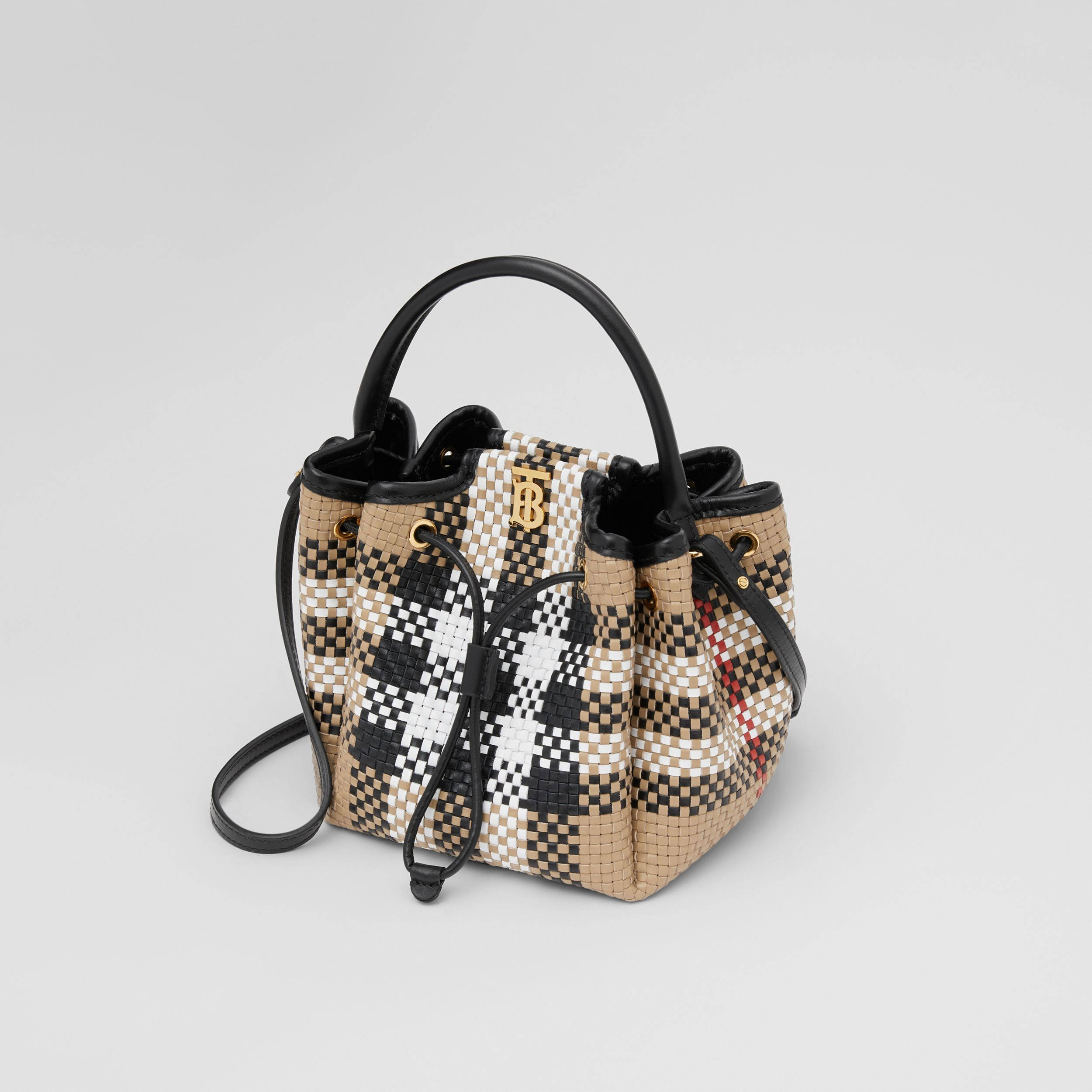 Monogram Motif Latticed Leather Bucket Bag in Archive Beige - Women | Burberry - 4