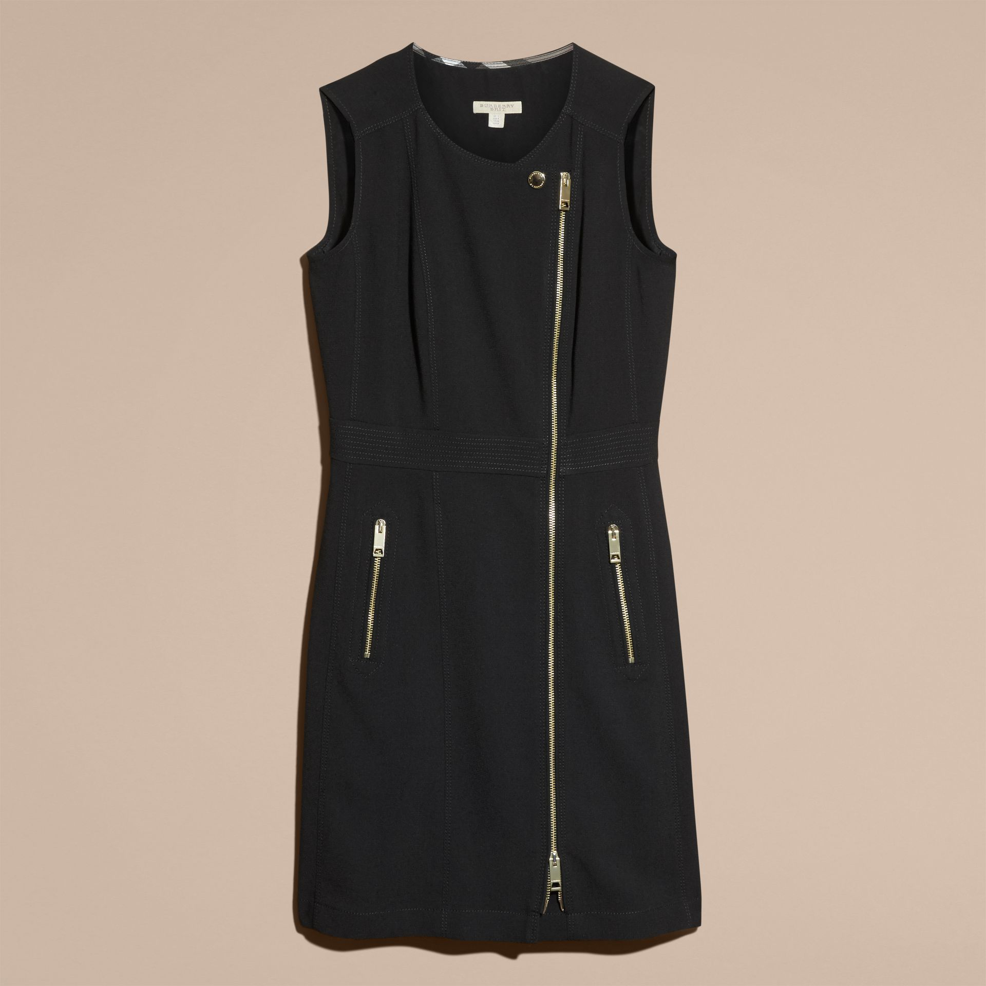 Black Zip Detail Sleeveless Wool Dress - gallery image 4