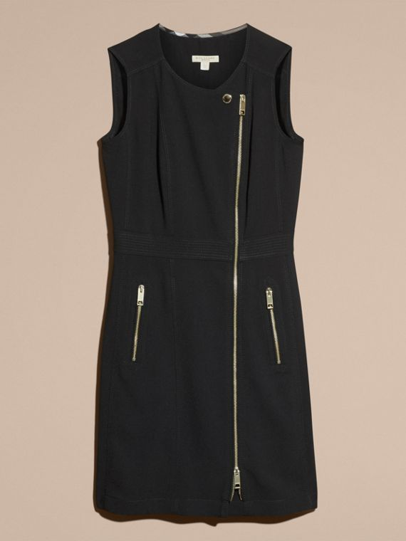 Black Zip Detail Sleeveless Wool Dress - cell image 3
