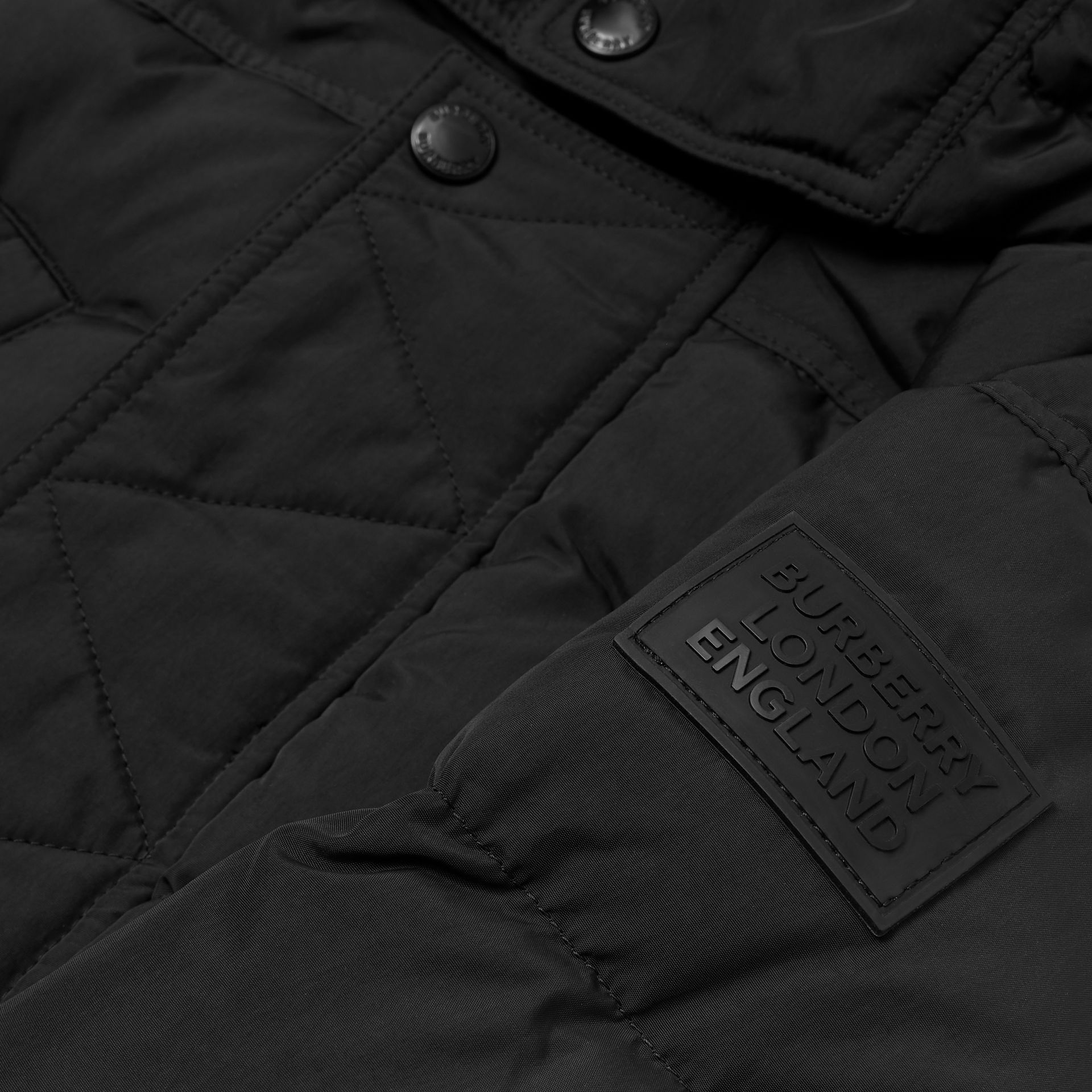 Detachable Hood Down-filled Puffer Coat in Black | Burberry - gallery image 1