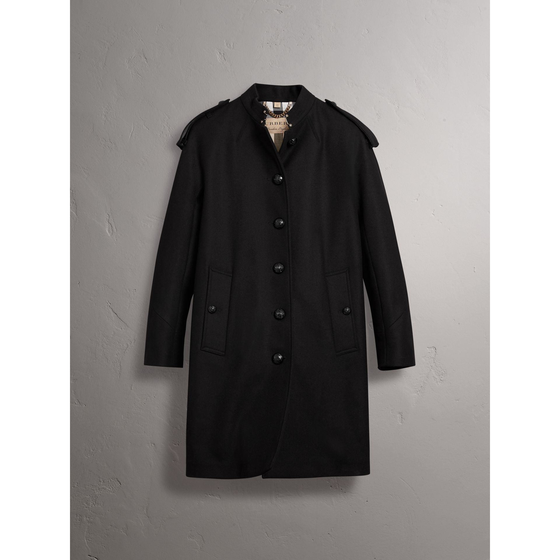 Collarless Wool Blend Coat in Black - Women | Burberry United States - gallery image 3