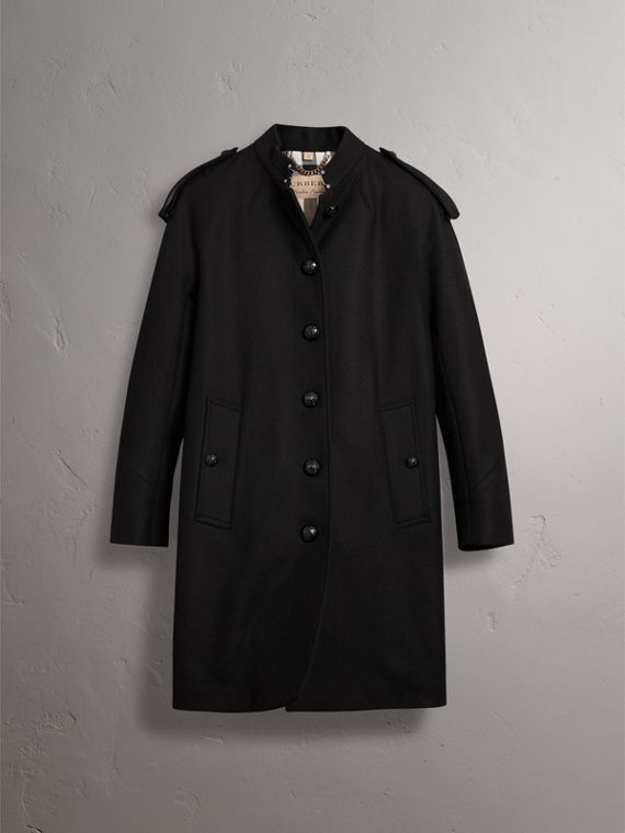 Collarless Wool Blend Coat in Black - Women | Burberry Canada - cell image 3