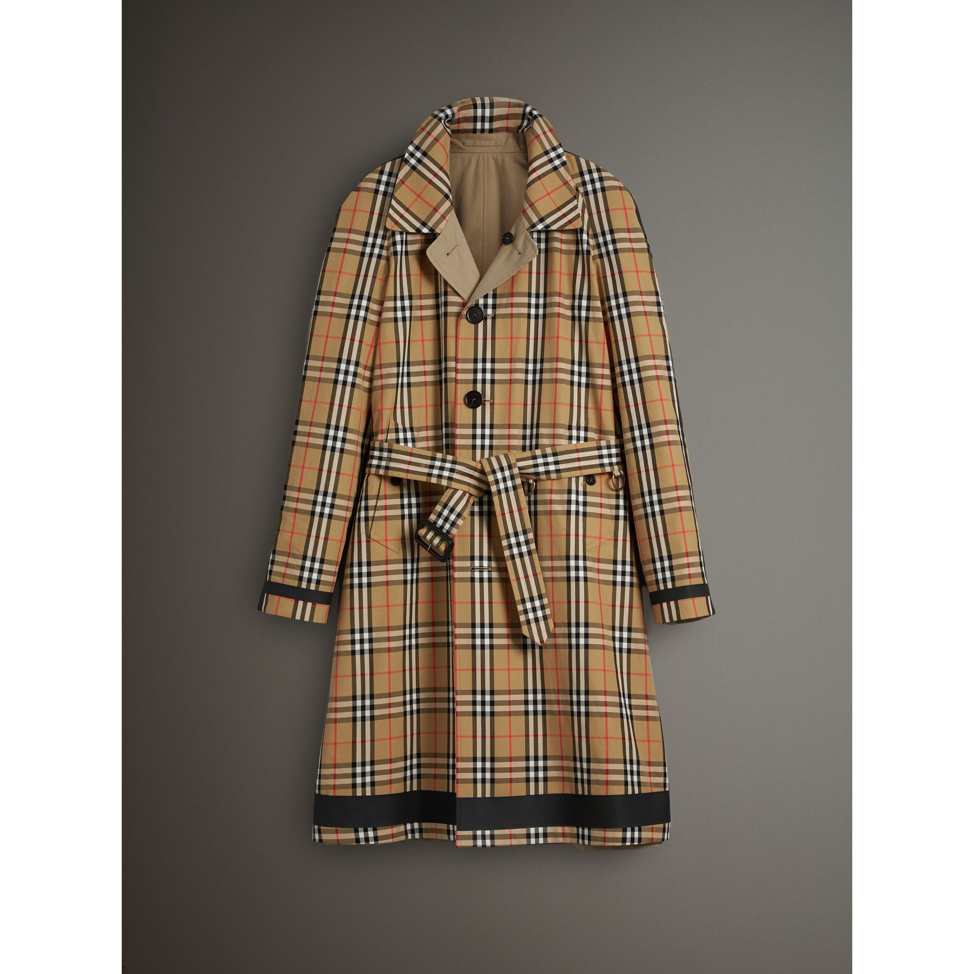 Reversible Vintage Check Gabardine Car Coat in Antique Yellow - Men | Burberry - gallery image 3