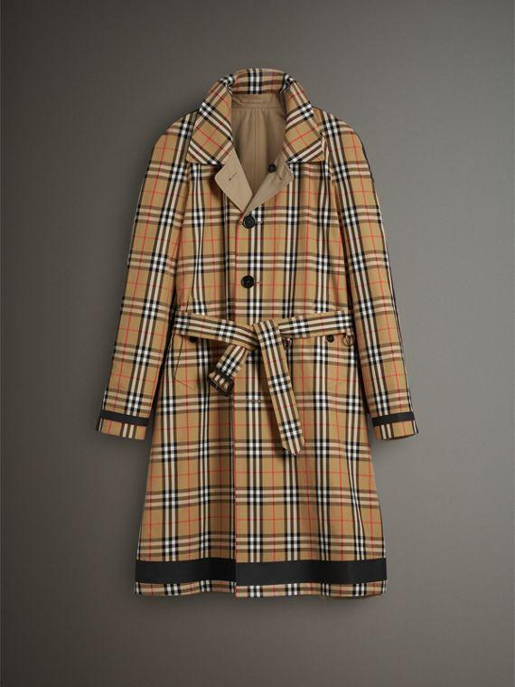Reversible Vintage Check Gabardine Car Coat in Antique Yellow - Men | Burberry United States - cell image 3
