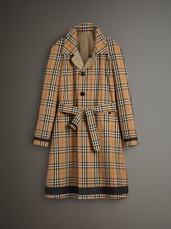 Reversible Vintage Check Gabardine Car Coat in Antique Yellow - Men | Burberry - cell image 3