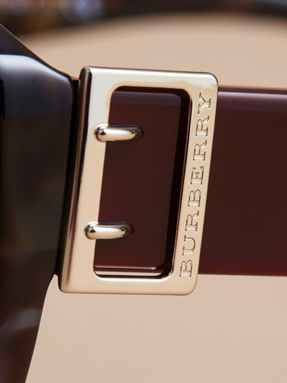 Buckle Detail Oversize Square Frame Sunglasses in Apple Green - Women | Burberry United Kingdom - cell image 1