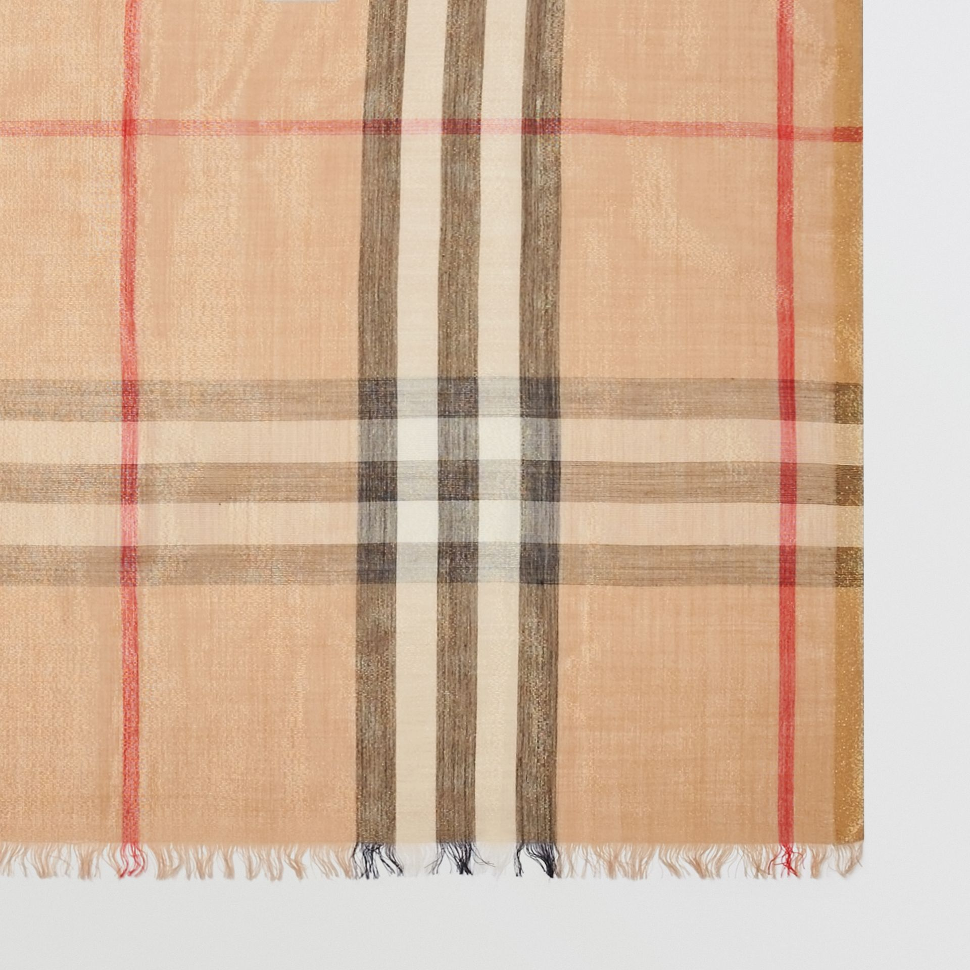 Metallic Check Silk and Wool Scarf in Camel/gold | Burberry - gallery image 1