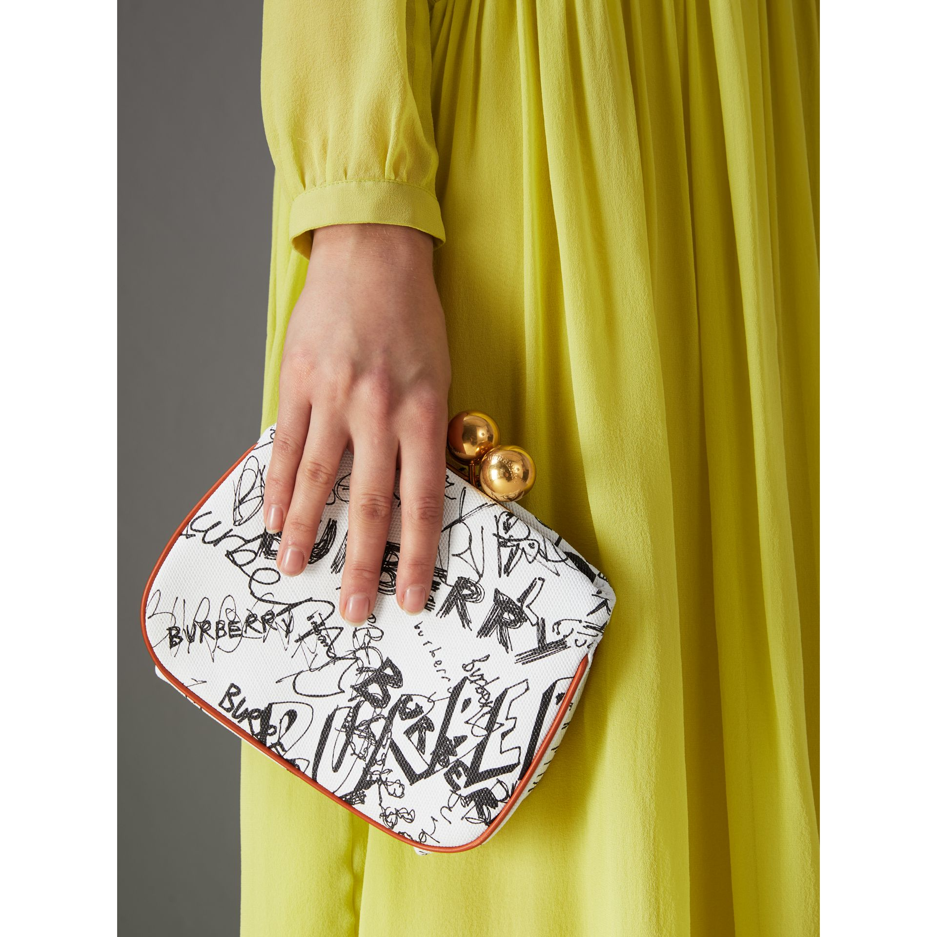 Small Doodle Print Check Frame Bag in White/orange Saffron - Women | Burberry - gallery image 3