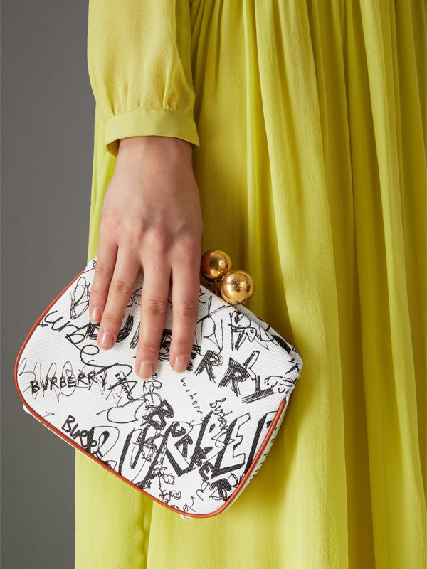 Small Doodle Print Check Frame Bag in White/orange Saffron - Women | Burberry - cell image 3