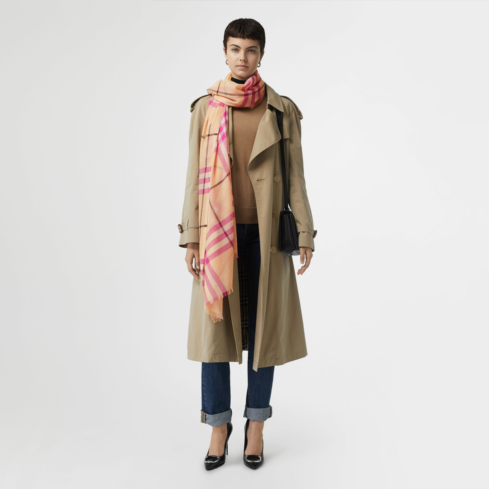 Lightweight Check Wool and Silk Scarf in Pale Apricot | Burberry Australia - gallery image 2