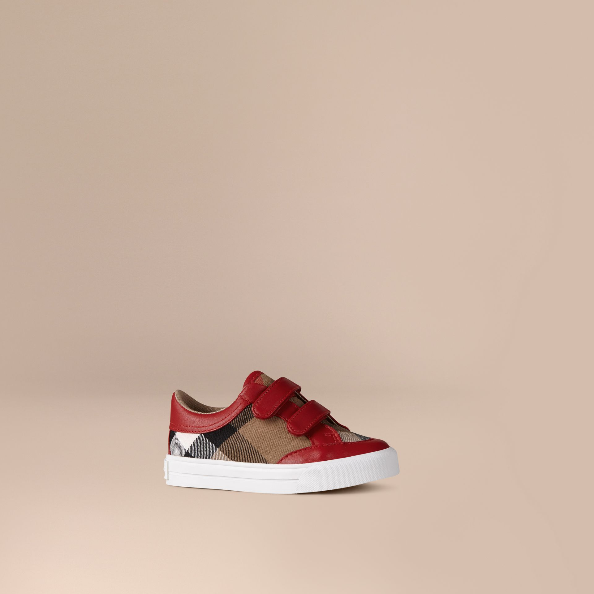 Tennis en cuir avec motif House check (Rouge Parade) | Burberry - photo de la galerie 1