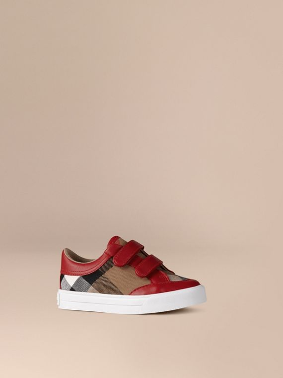 House Check and Leather Trainers in Parade Red | Burberry Singapore