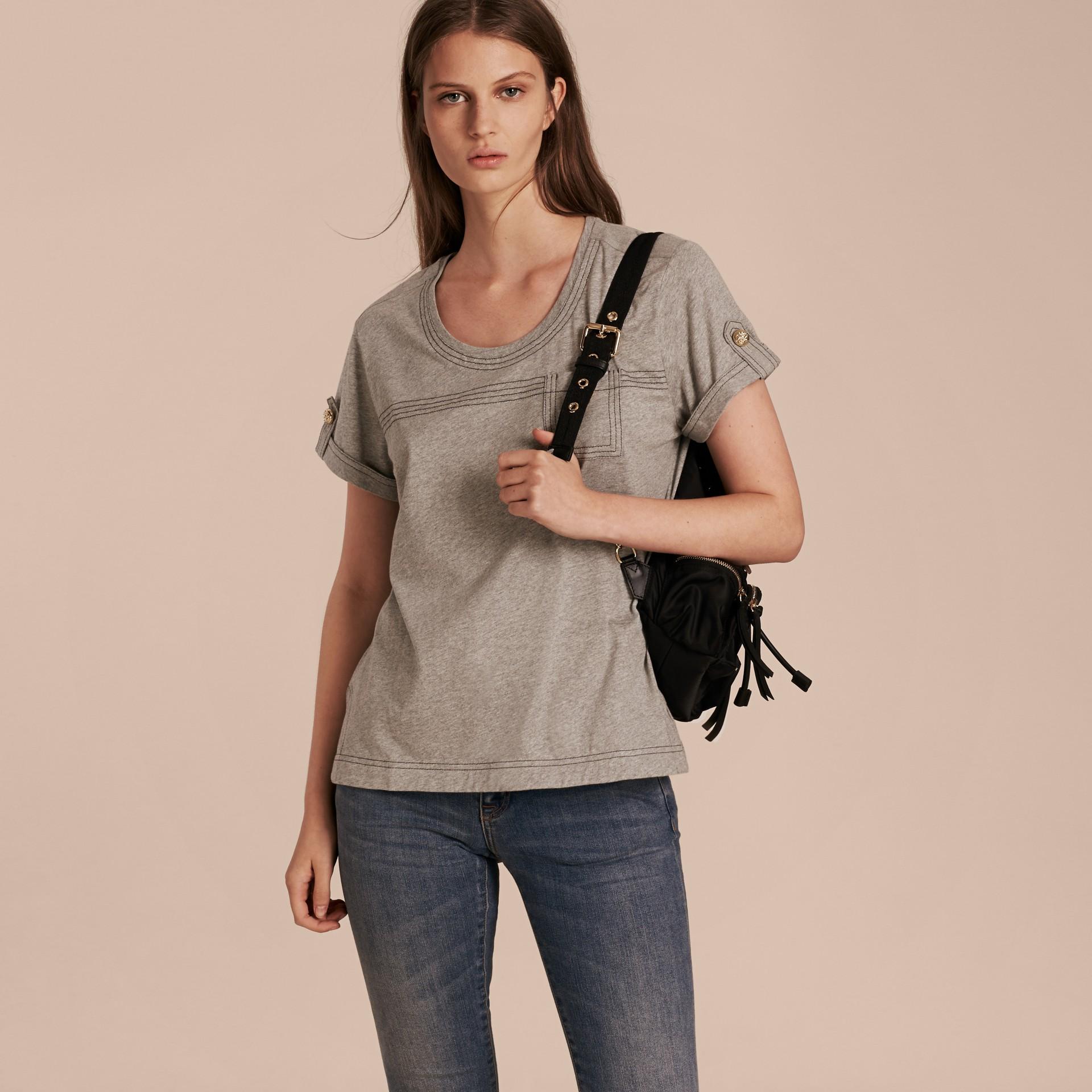 Pale grey melange Topstitch Detail Cotton T-shirt Pale Grey Melange - gallery image 6