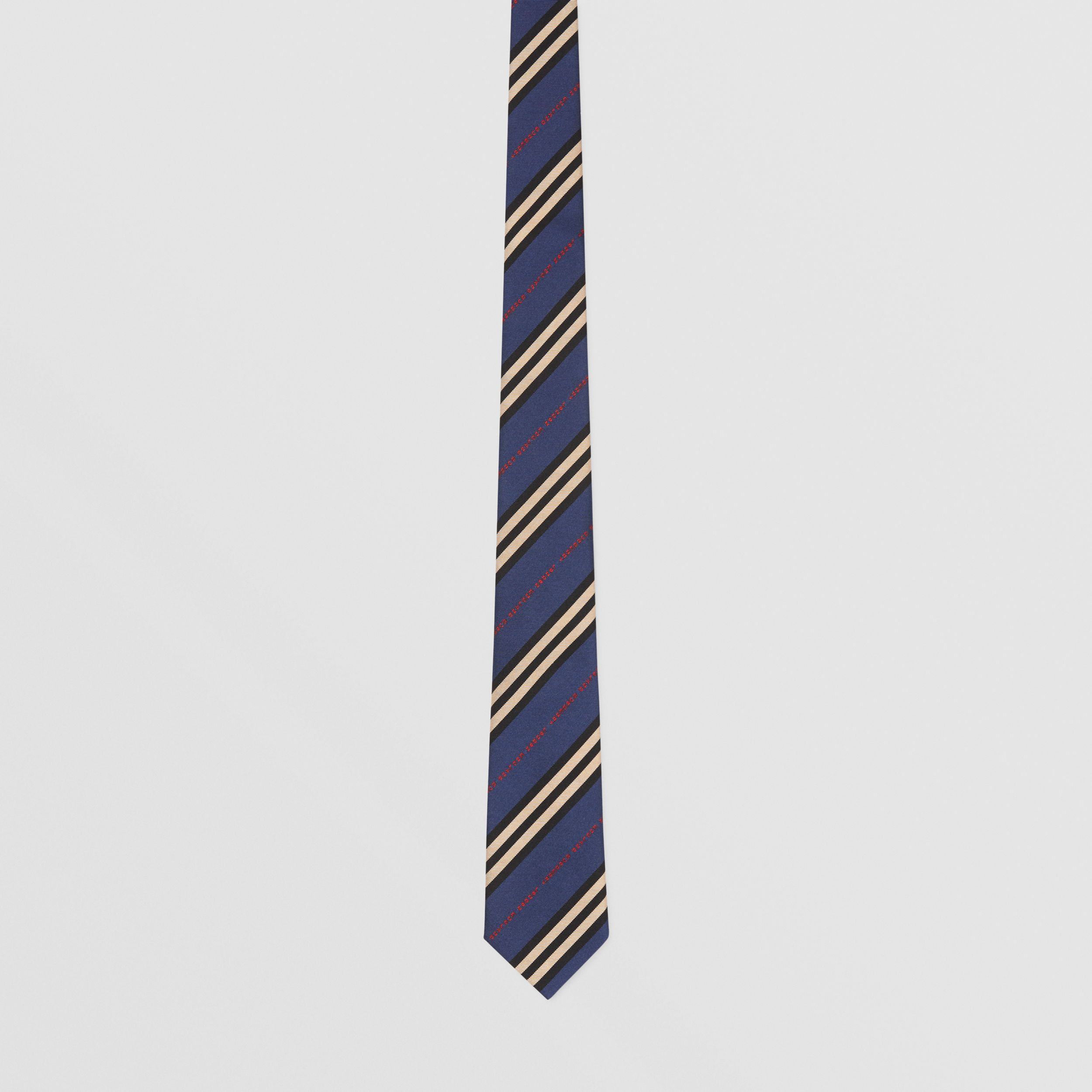 Classic Cut Logo and Stripe Silk Jacquard Tie in Bright Navy - Men | Burberry - 4