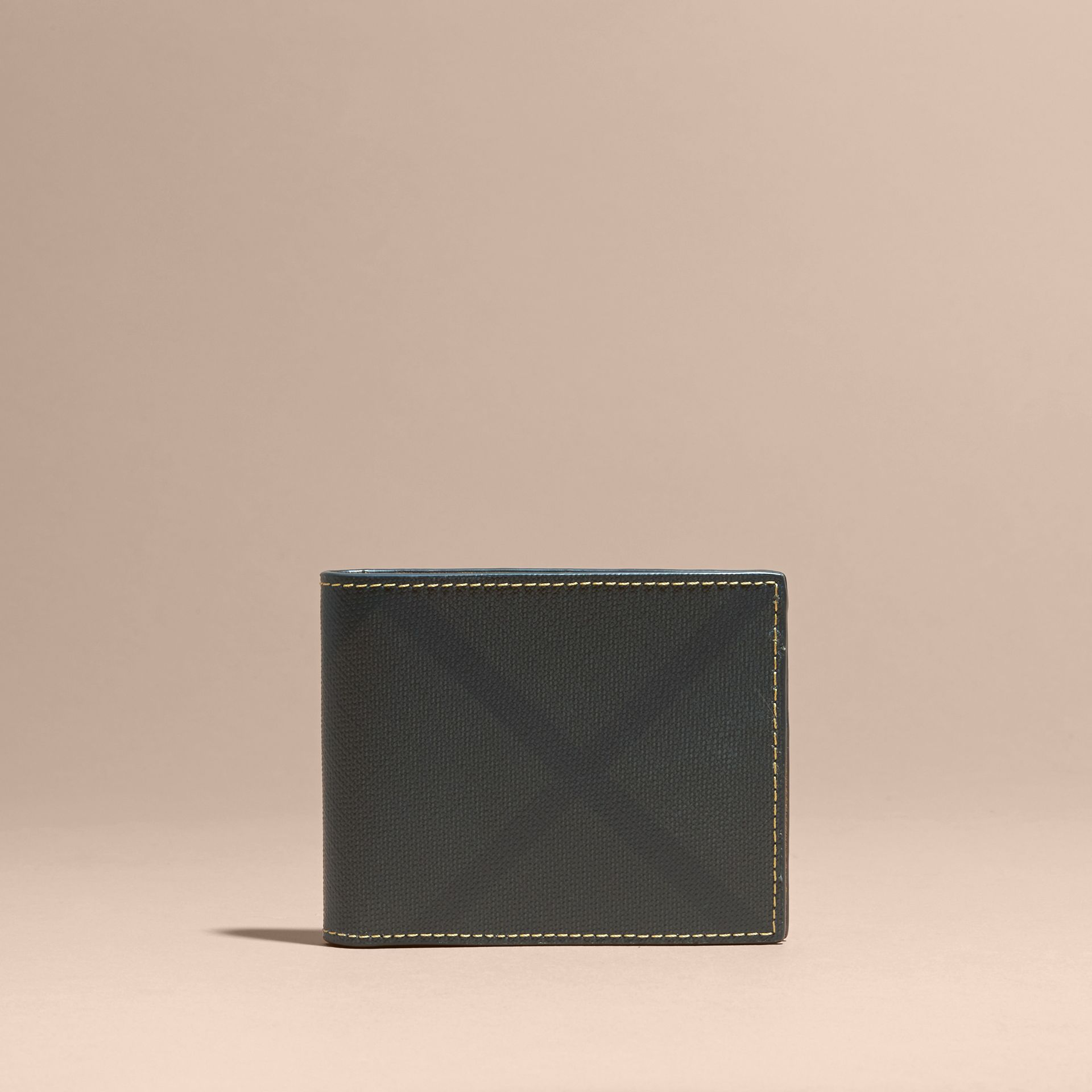 London Check and Leather Bifold Wallet in Larch Yellow - gallery image 6