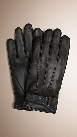 Embossed Check Detail Leather Touch Screen Gloves