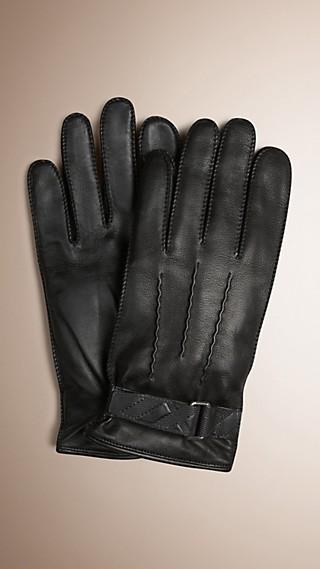 Gants pour écran tactile en cuir avec motif check estampé
