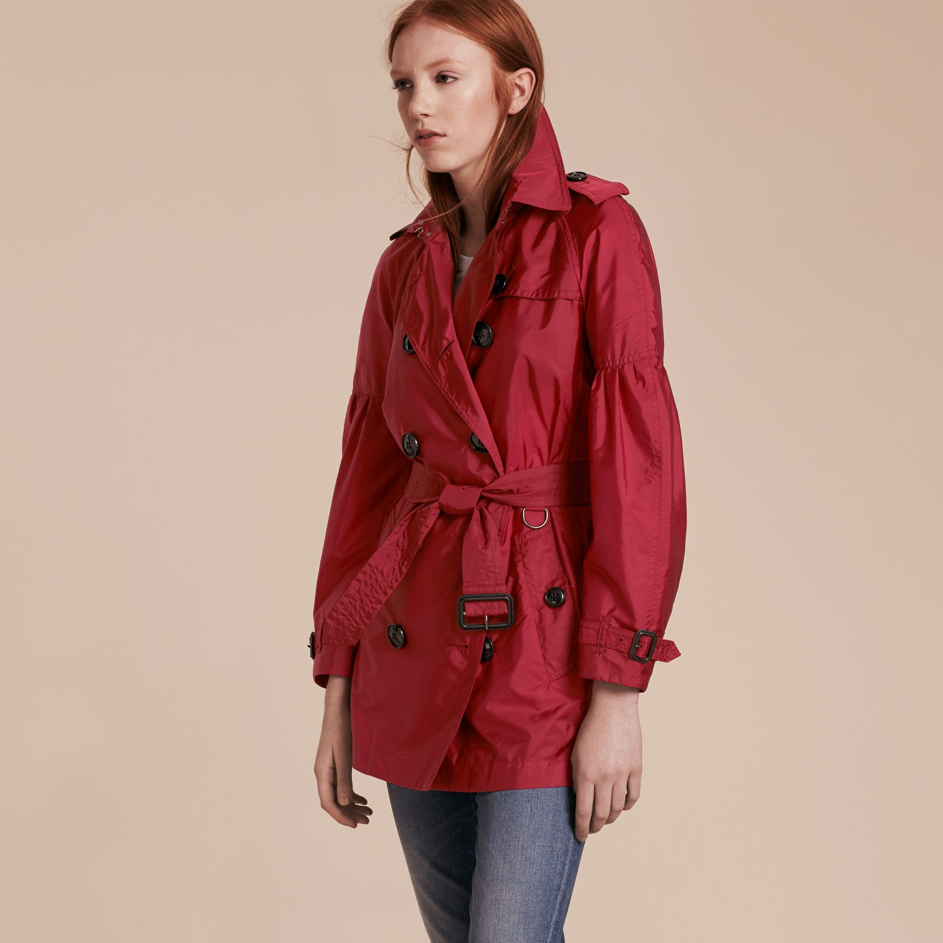 Parade red Packaway Trench Coat with Puff Sleeves - gallery image 1