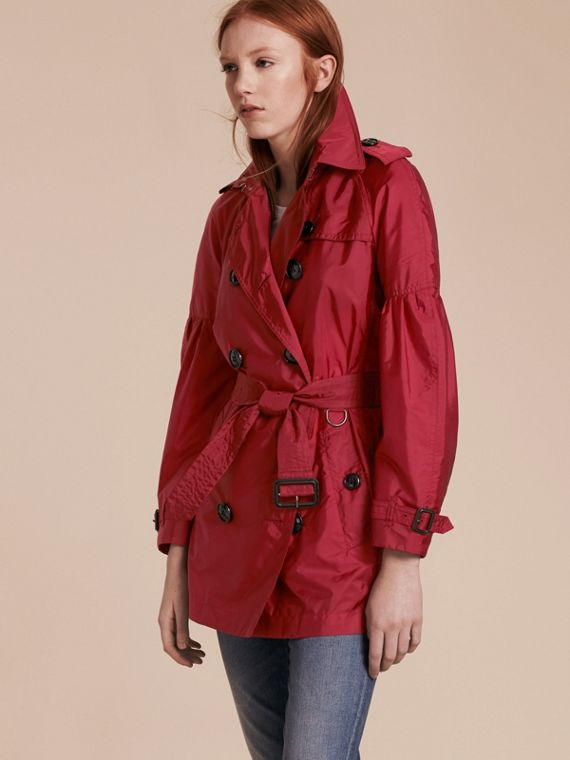 Packaway Trench Coat with Puff Sleeves