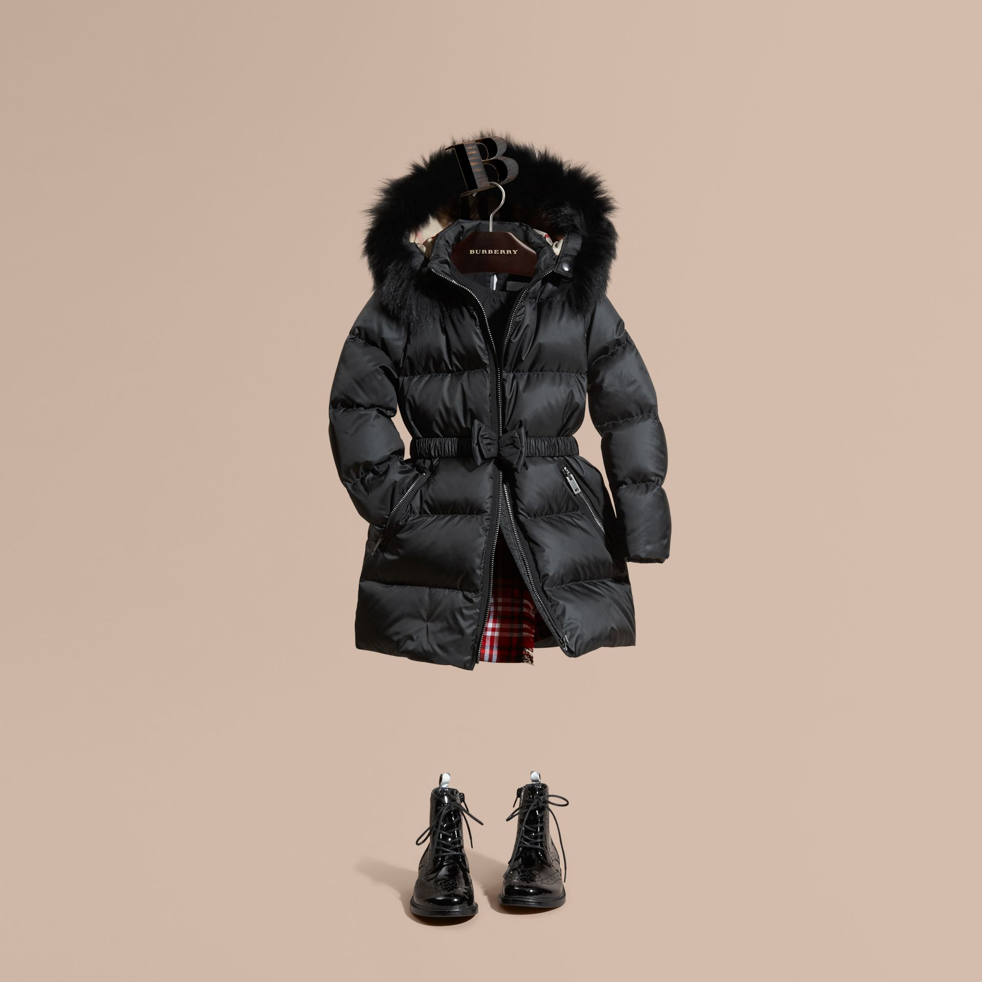 Detachable Fox Fur Trim Hood Down-filled Coat in Black - Girl | Burberry Canada - gallery image 1