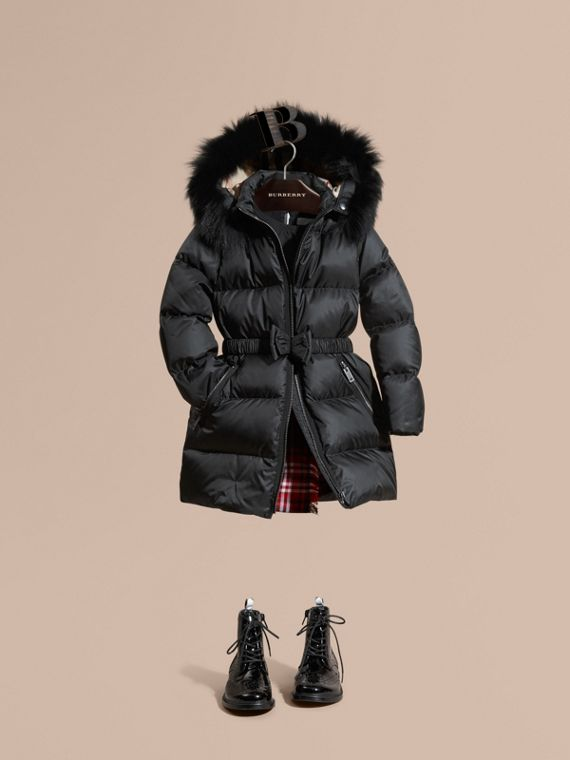 Down-filled Coat with Detachable Fox Fur-trimmed Hood Black
