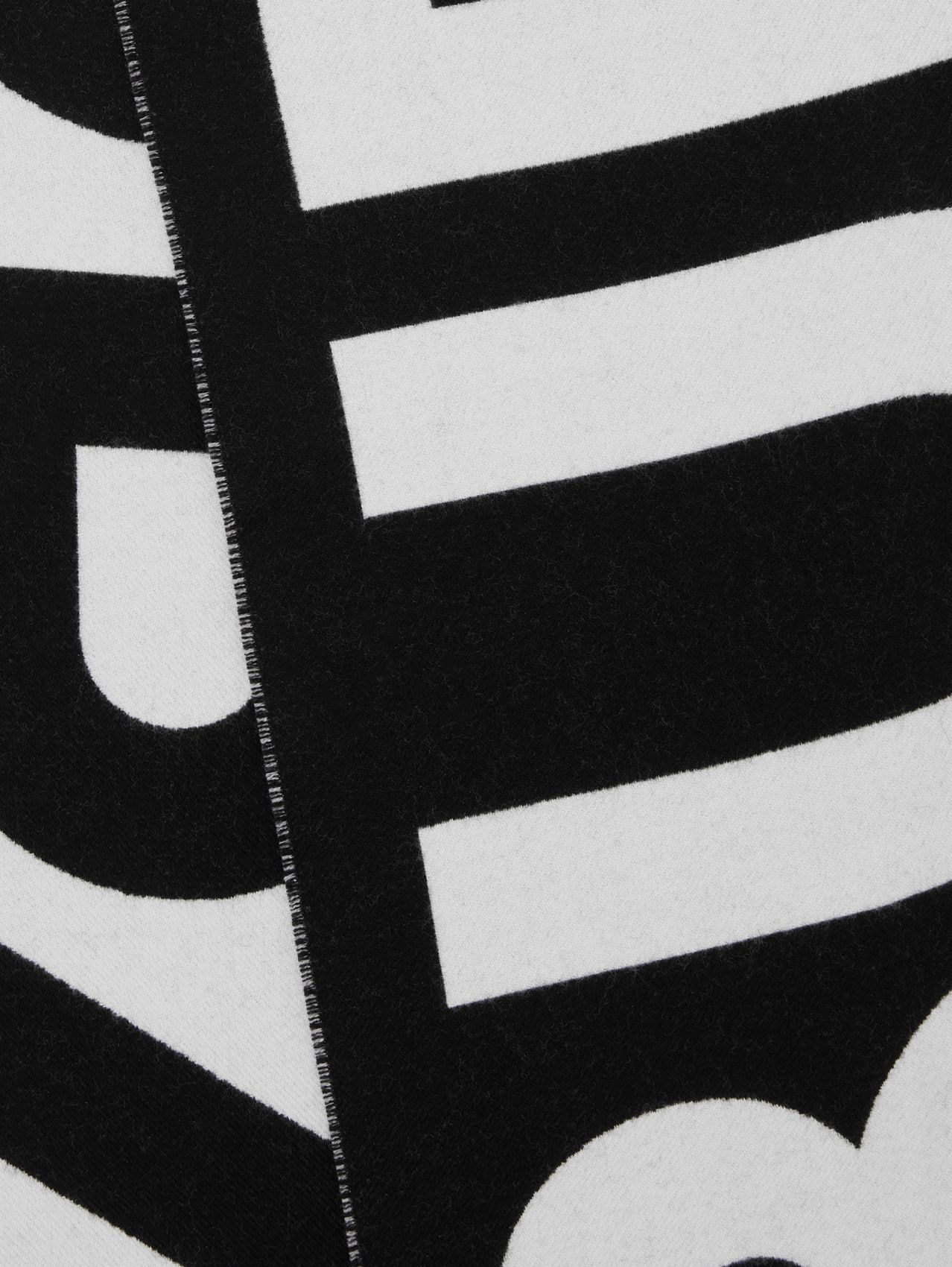 Logo Wool Jacquard Scarf in Black