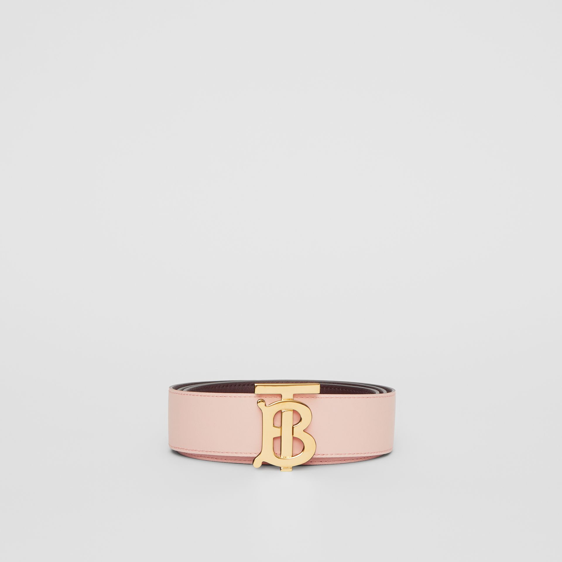 Reversible Monogram Motif Leather Belt in Oxblood/rose Beige - Women | Burberry - gallery image 7