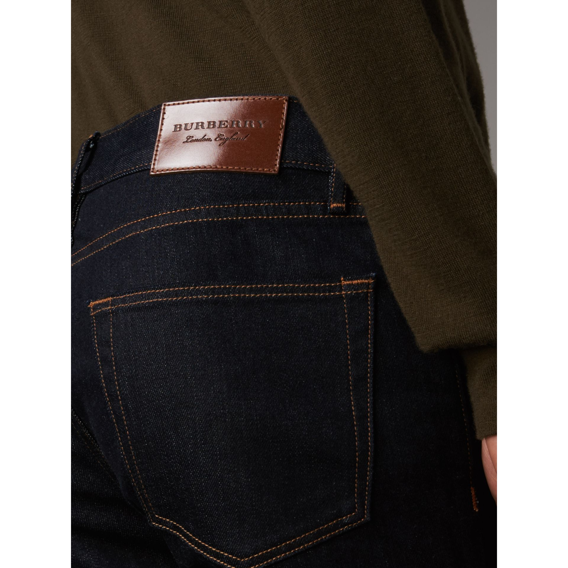 Slim Fit Stretch Japanese Selvedge Denim Jeans in Dark Indigo - Men | Burberry Canada - gallery image 2