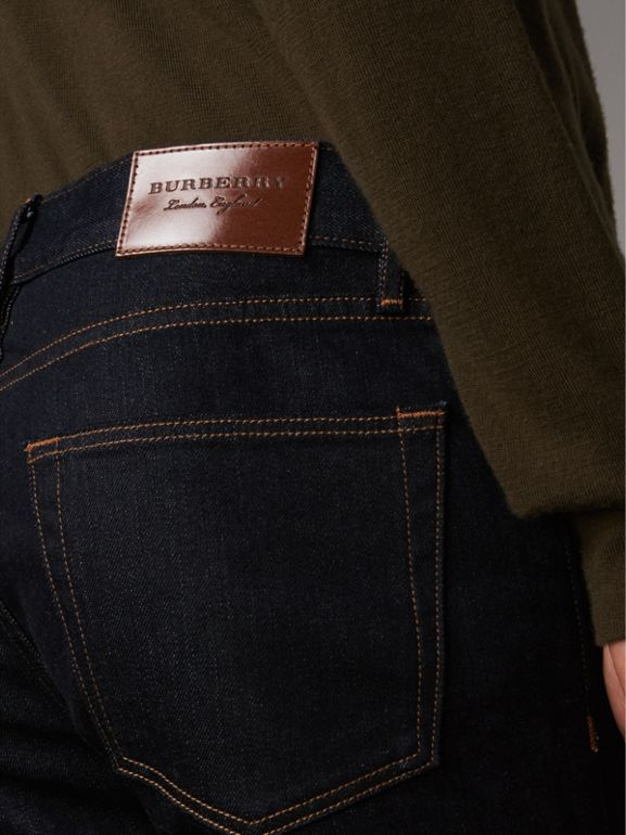 Slim Fit Stretch Japanese Selvedge Denim Jeans in Dark Indigo - Men | Burberry - cell image 1