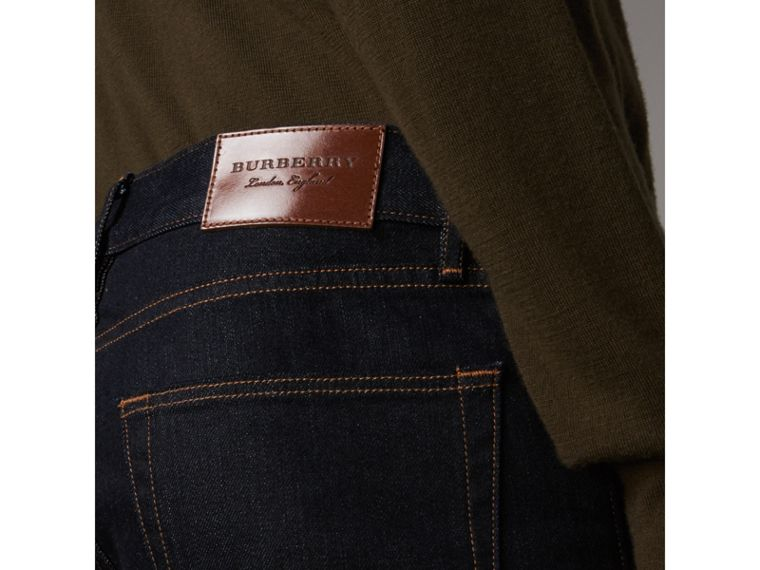 Slim Fit Stretch Japanese Selvedge Denim Jeans in Dark Indigo - Men | Burberry Canada - cell image 1