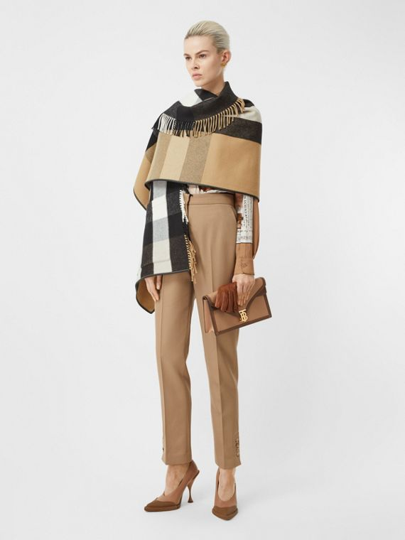 Check Wool Cashmere Jacquard Cape in Archive Beige