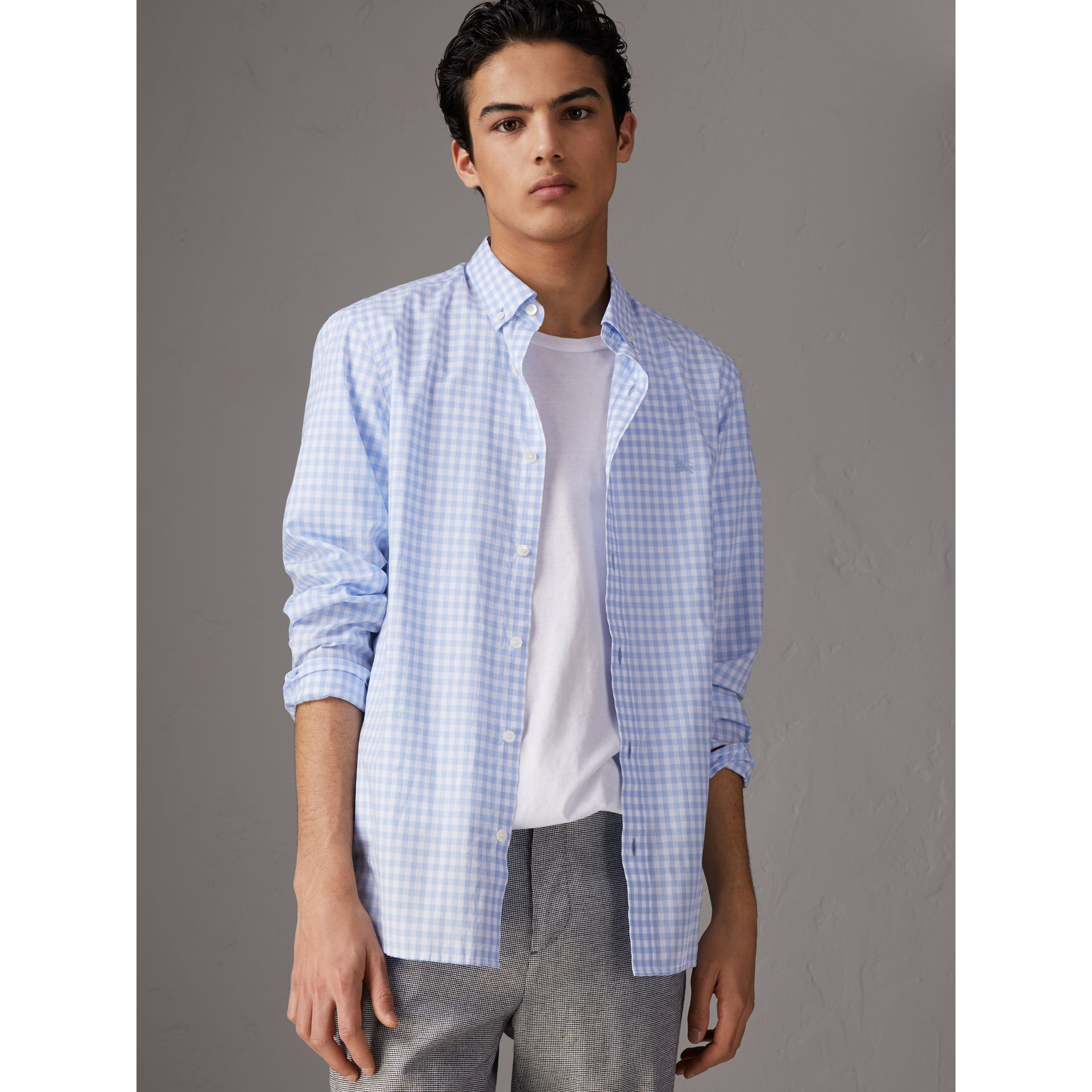 Button-down Collar Gingham Cotton Shirt in Pale Blue - Men | Burberry Singapore - gallery image 5
