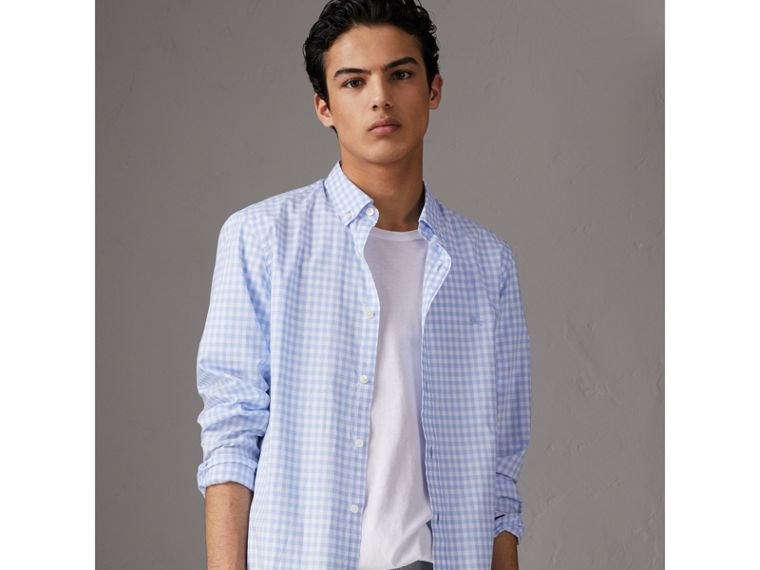 Button-down Collar Gingham Cotton Shirt in Pale Blue - Men | Burberry Australia - cell image 4