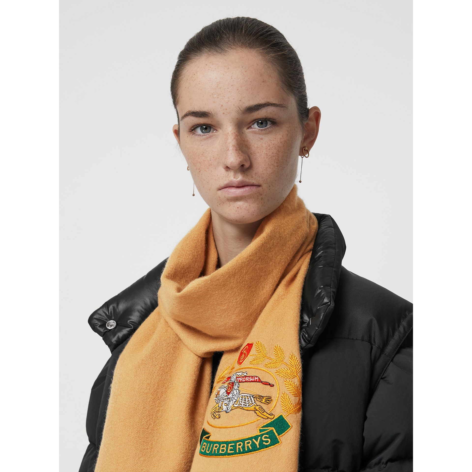 The Classic Cashmere Scarf with Archive Logo in Antique Yellow | Burberry Australia - gallery image 5