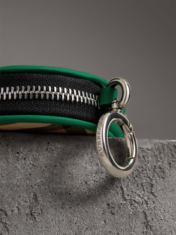 Coated Vintage Check Coin Case in Palm Green | Burberry Australia - cell image 1