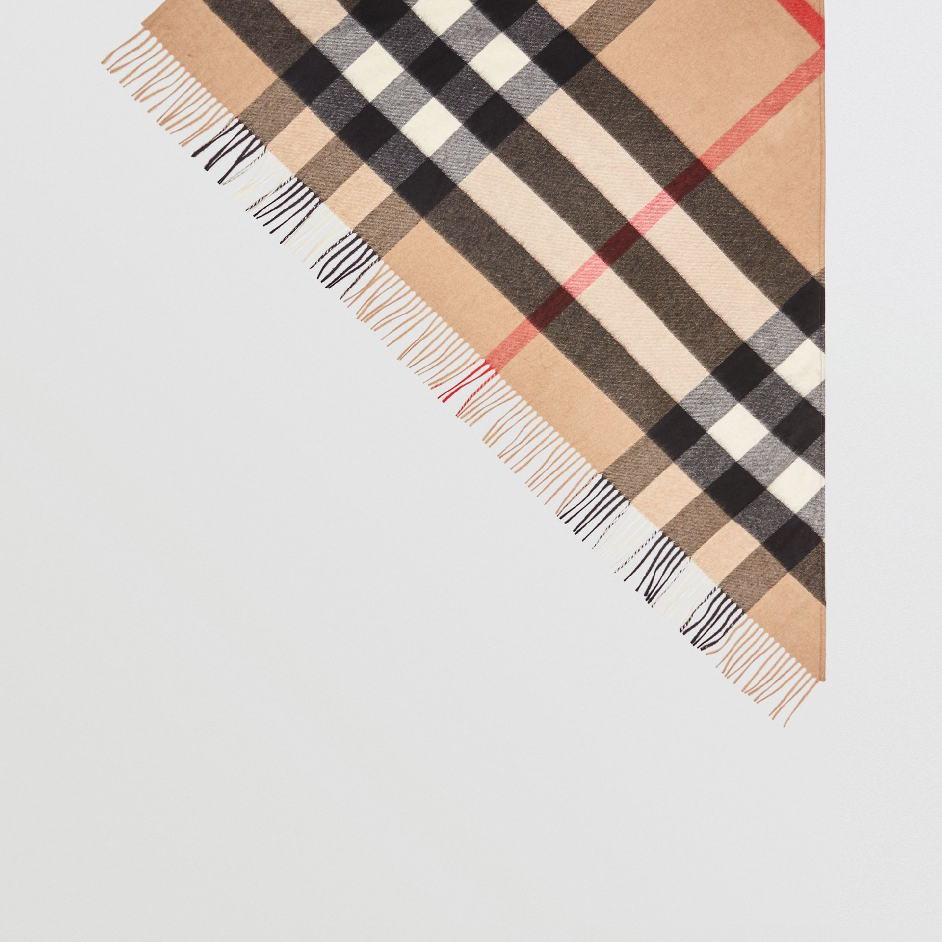 The Burberry Bandana in Check Cashmere in Camel | Burberry United Kingdom - gallery image 4