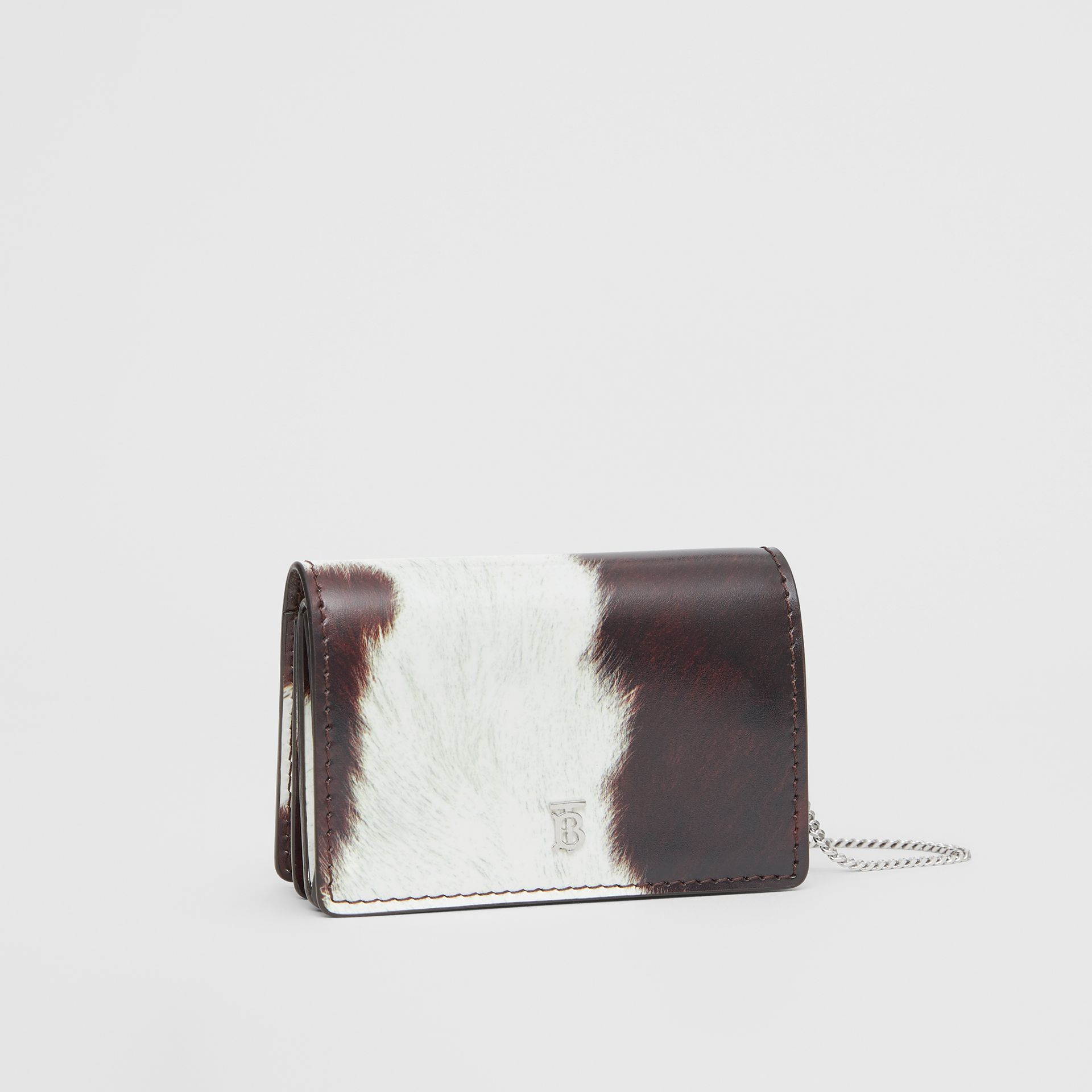 Cow Print Leather Card Case with Detachable Strap in Mahogany - Women | Burberry - gallery image 6