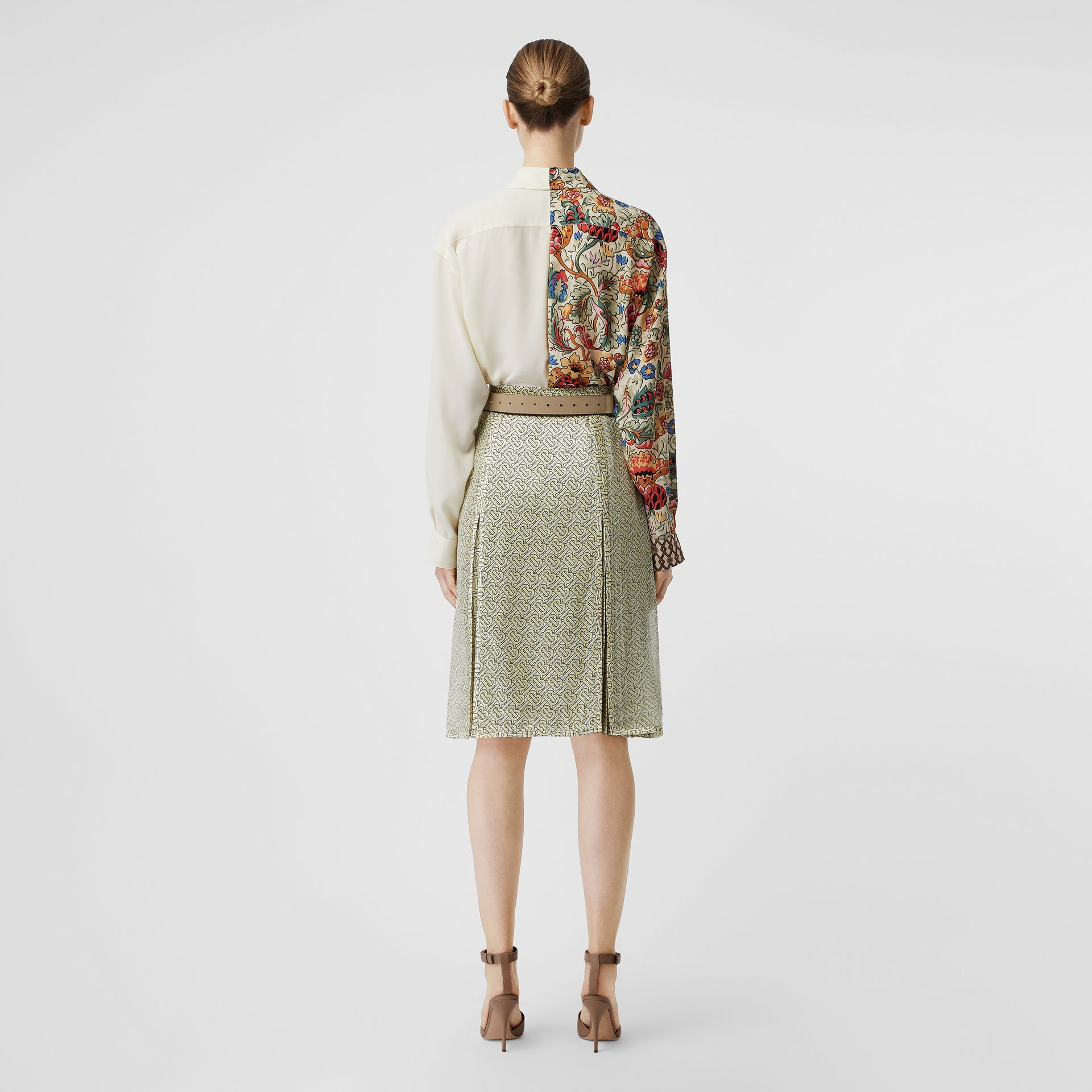 Floral Print Panel Silk Shirt in Vanilla - Women | Burberry Singapore - gallery image 2