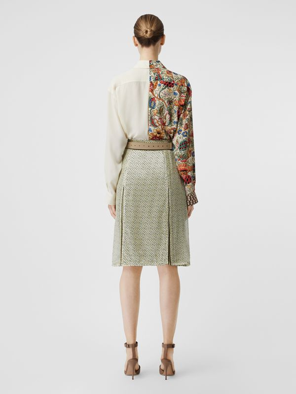 Floral Print Panel Silk Oversized Shirt in Vanilla - Women | Burberry - cell image 2