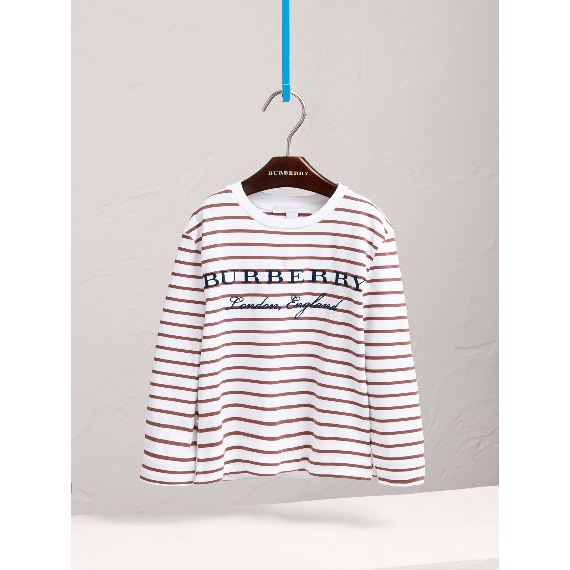 Embroidered Striped Cotton Top in Antique Rose/white - Girl | Burberry - gallery image 3