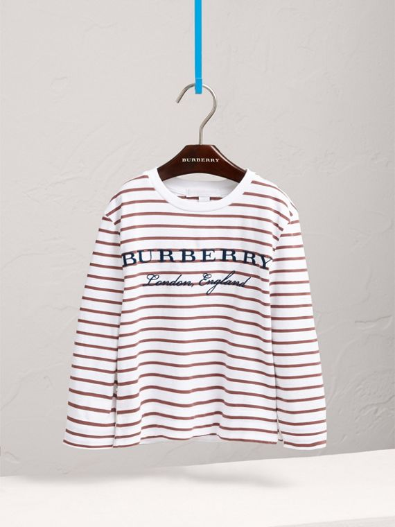 Embroidered Striped Cotton Top in Antique Rose/white - Girl | Burberry Australia - cell image 2