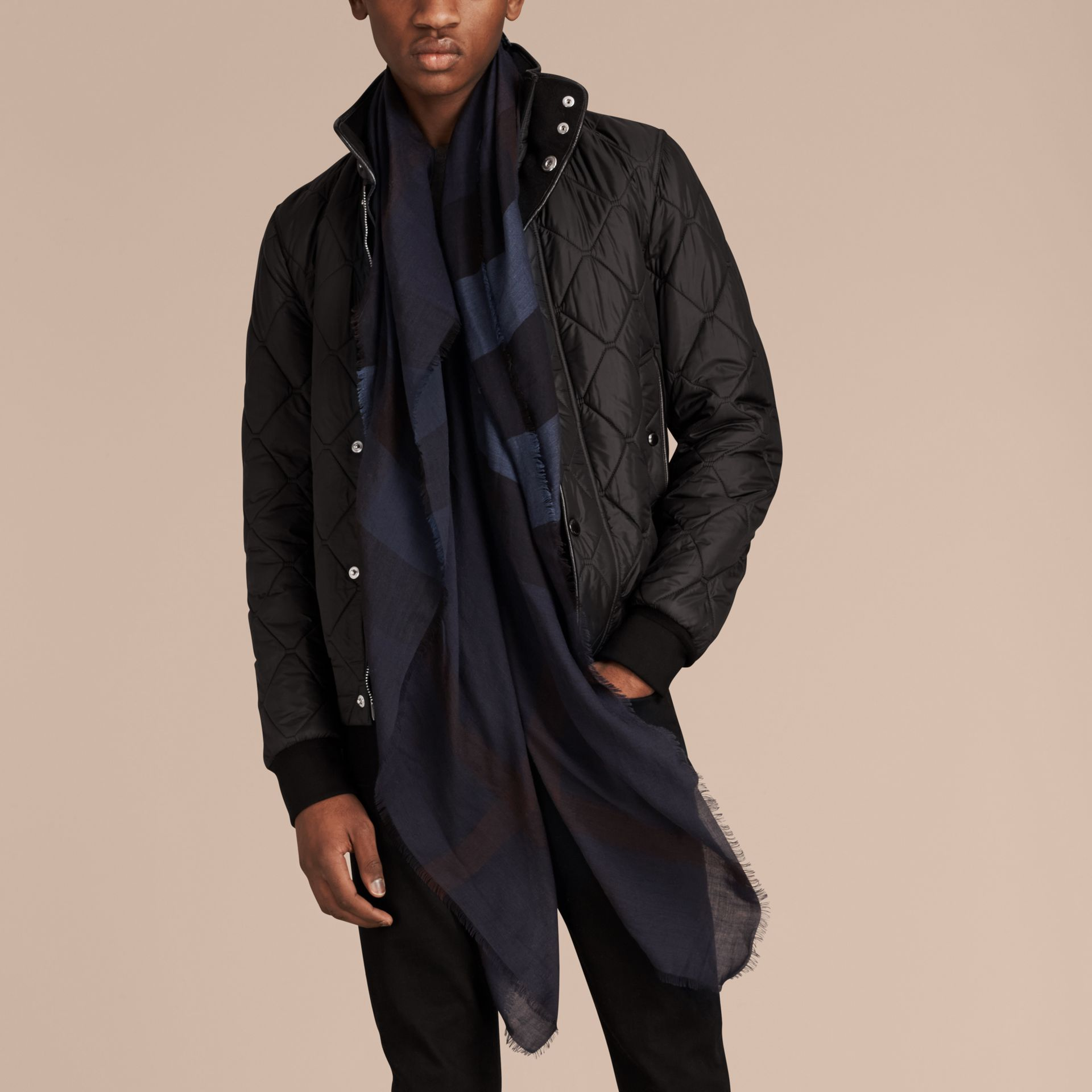 Large Lightweight Check Silk Modal Wool Square Scarf in Navy - Men | Burberry - gallery image 4
