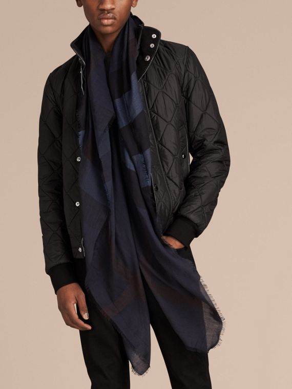 Large Lightweight Check Silk Modal Wool Square Scarf in Navy - Men | Burberry - cell image 3