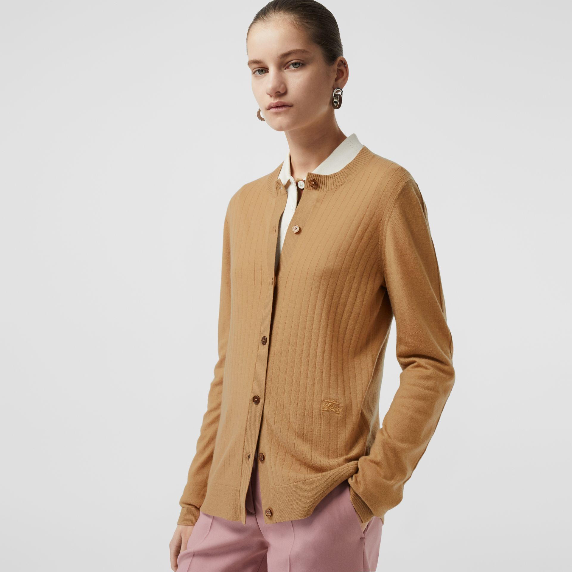 Rib Knit Cashmere Cardigan in Camel - Women | Burberry - gallery image 3
