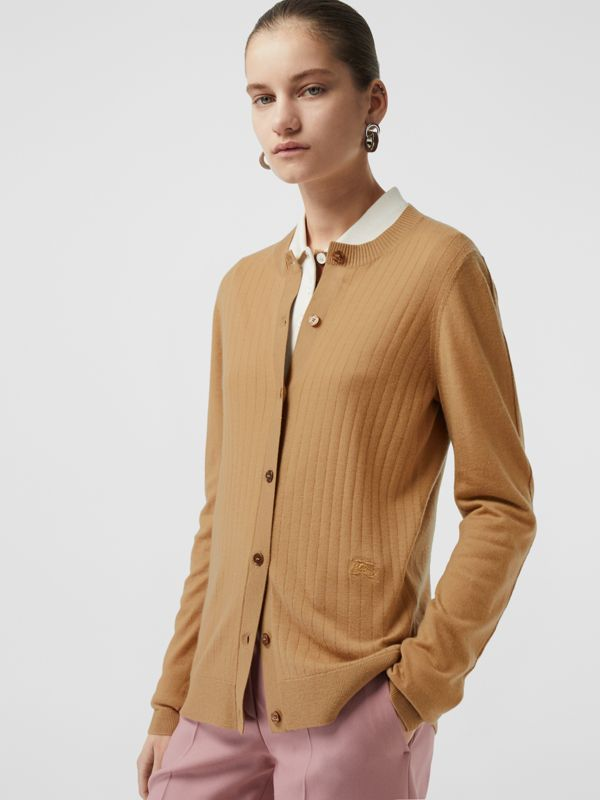 Rib Knit Cashmere Cardigan in Camel - Women | Burberry - cell image 3