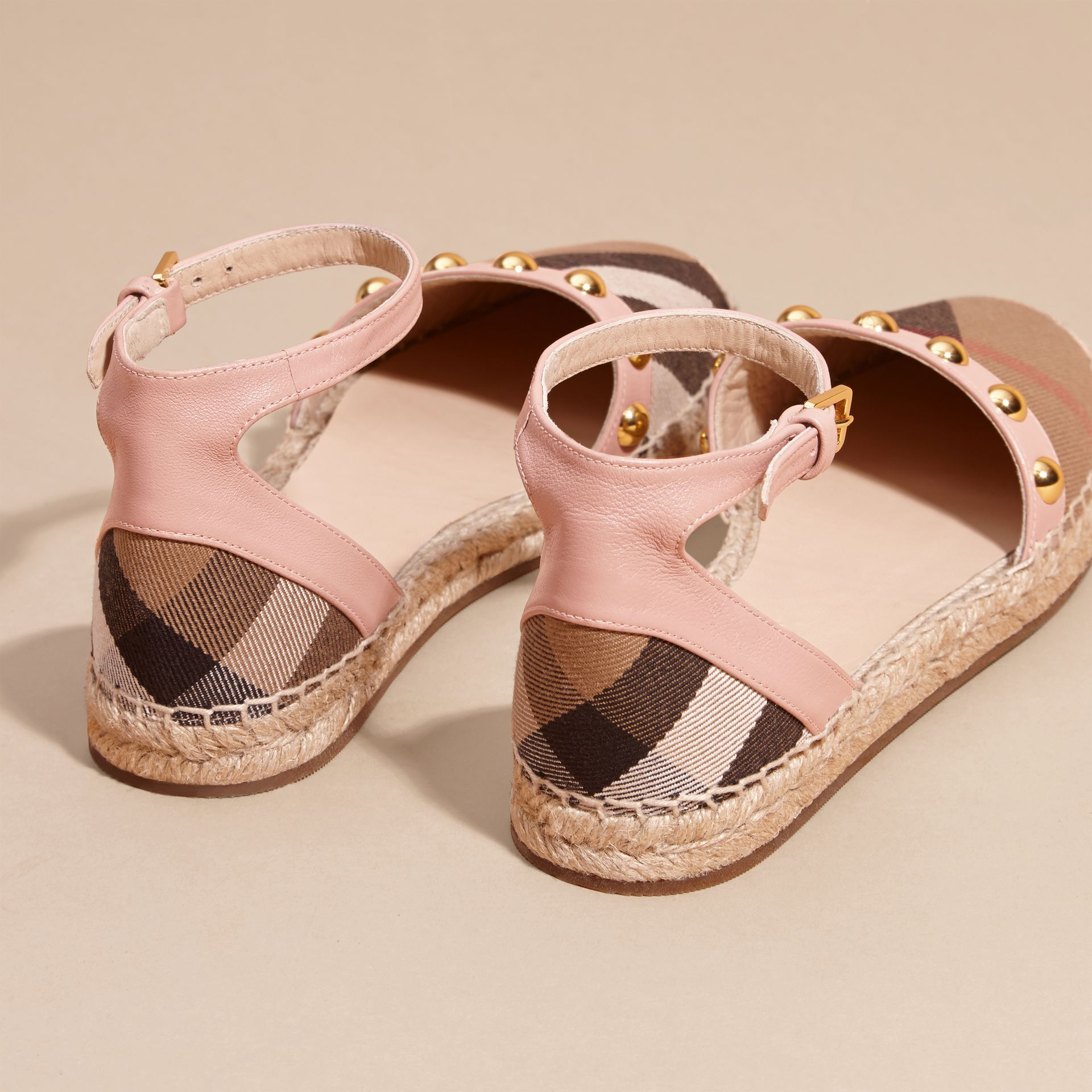 Nude blush Studded Leather and House Check Espadrille Sandals Nude Blush - gallery image 4