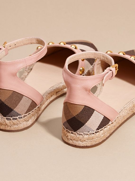 Nude blush Studded Leather and House Check Espadrille Sandals Nude Blush - cell image 3